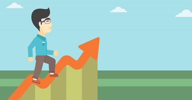 Biznesmen biegnie wzdłuż wykresu wzrostu