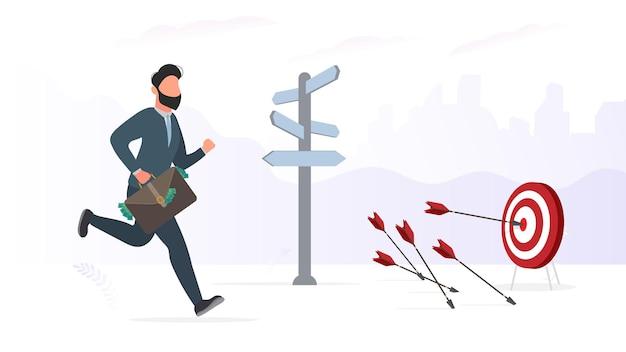 Biznesmen biegnie z walizką pieniędzy. pojęcie odnoszącego sukcesy przedsiębiorcy. obraz do prezentacji i plakatów o tematyce biznesowej. wektor.