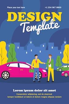 Biznesmen biorąc pojazd w car sharing. samochód, uścisk dłoni, wynajem płaski plakat