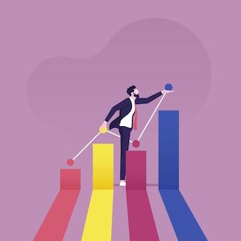 Biznesmen budujący lub rozwijający wykres wzrostu firmy ze strzałką w górę