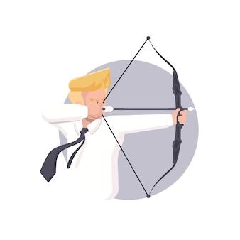 Biznesmen celuje z łękiem i strzała