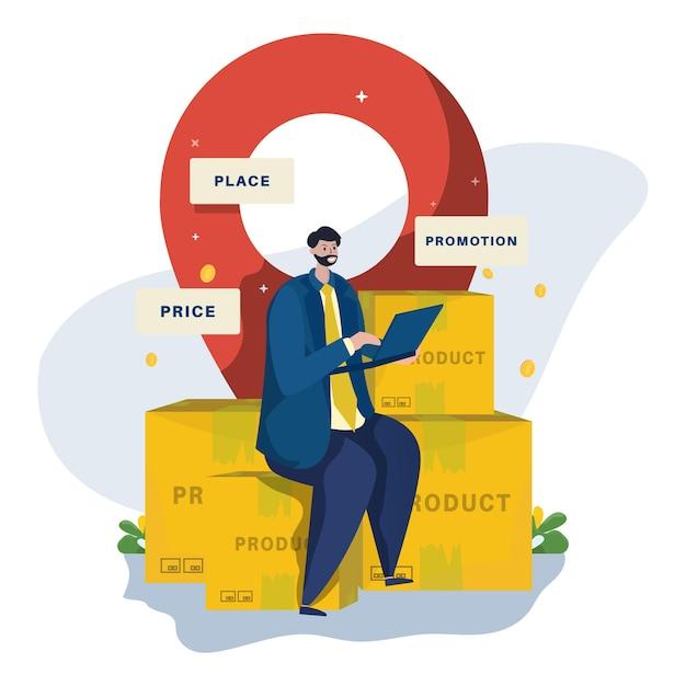 Biznesmen charakter i ilustracja strategii marketingu mix