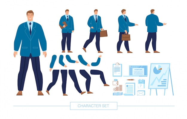 Biznesmen charakter konstruktor płaski zestaw