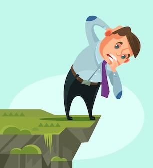 Biznesmen charakter patrząc w dół