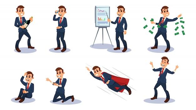 Biznesmen charakter, pracownik biurowy w pozycjach.