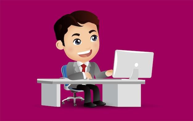 Biznesmen charakter pracy na komputerze przenośnym w biurze informacji turystycznej