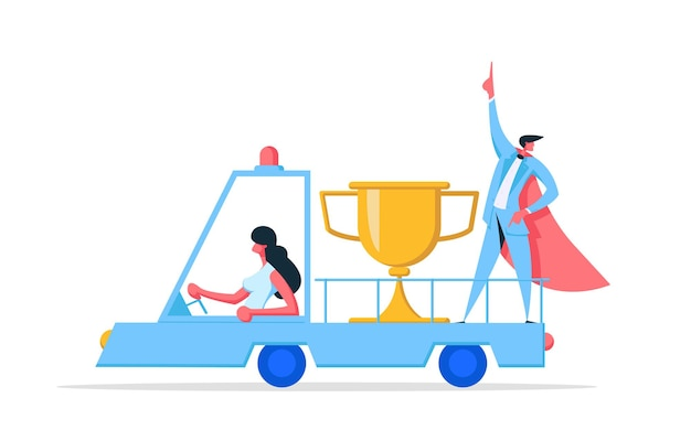Biznesmen charakter superbohatera z ilustracją złotej nagrody
