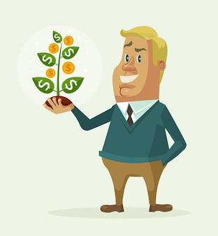 Biznesmen charakter trzymać drzewo pieniędzy