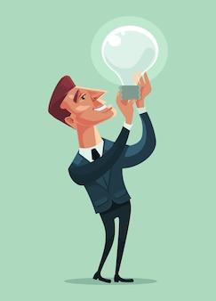 Biznesmen charakter trzymać lampę. dobry pomysł. ilustracja kreskówka płaska