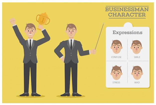 Biznesmen charakter z wyrażeniami