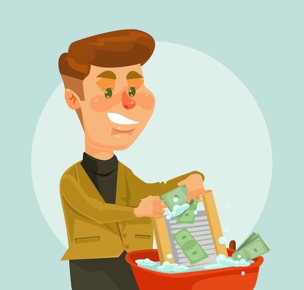 Biznesmen charakter złodziej prać pieniądze.