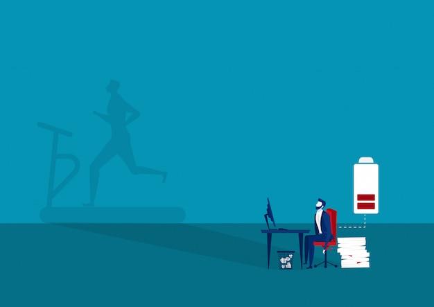 Biznesmen chce ćwiczyć po ciężkiej pracy, aby dodać pełnej energii