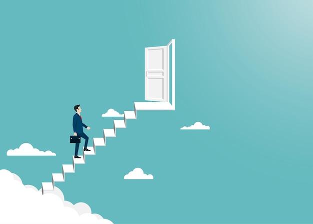 Biznesmen chodzenie po drabinie otwiera drzwi do sukcesu. koncepcja przywództwa i sukcesu. finanse biznesowe. wizja, osiągnięcie, cel, kariera. ilustracja wektorowa płaski