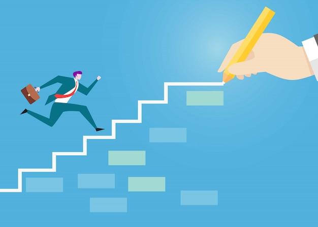 Biznesmen chodzenie po schodach, aby uzyskać cel