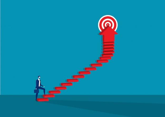 Biznesmen chodzenie po schodach do celu