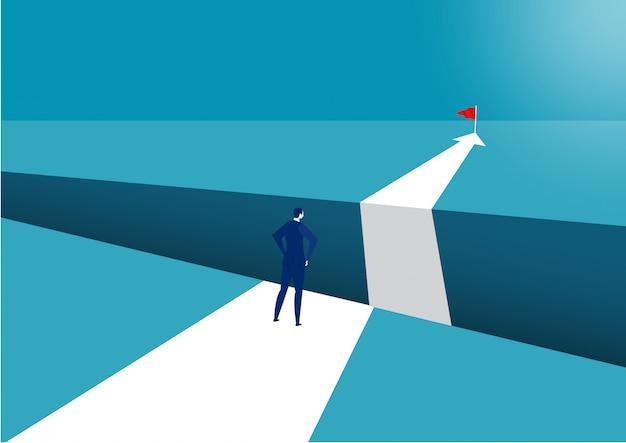 Biznesmen chodzi naprzód sukcesu wektor