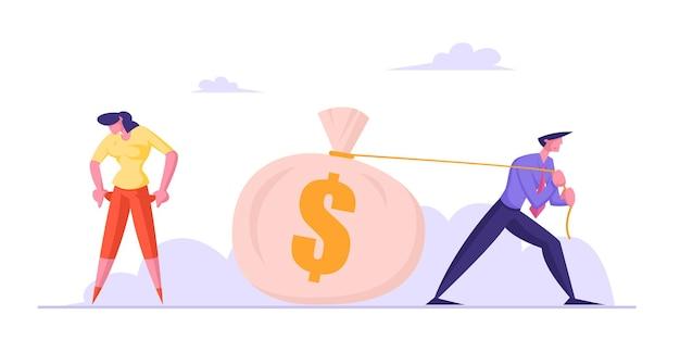 Biznesmen ciągnie wielki worek z dolarami, bizneswoman okazuje puste kieszenie bez pieniędzy