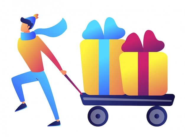 Biznesmen ciągnie wózek lub wózek z boże narodzenie teraźniejszość wektoru ilustracją.
