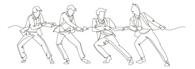 Biznesmen ciągnięcie liny ciągłej sztuki linii. biznesowa koncepcja liniowa pracy zespołowej. konkurs sylwetki osób. ilustracja wektorowa
