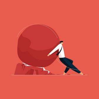 Biznesmen ciężko pracujący, aby powstrzymać problemy i wyzwania biznesowe determinacja i wytrwałość