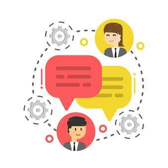Biznesmen czat bańka, omawianie sieci społecznościowej, aktualności