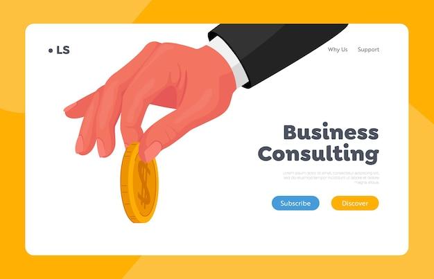 Biznesmen, dając szablon strony docelowej złotej monety. męska ręka w formalnej odzieży, trzymając złotą monetę w palcach