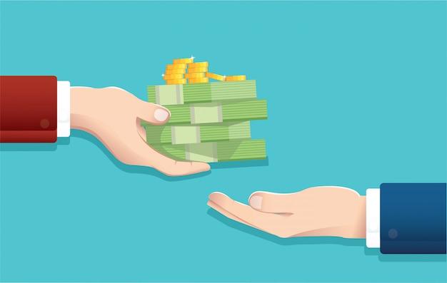 Biznesmen daje pieniądze