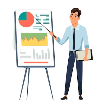 Biznesmen daje prezentację, pracownik biurowy w pobliżu tablicy z diagramami wykresów.