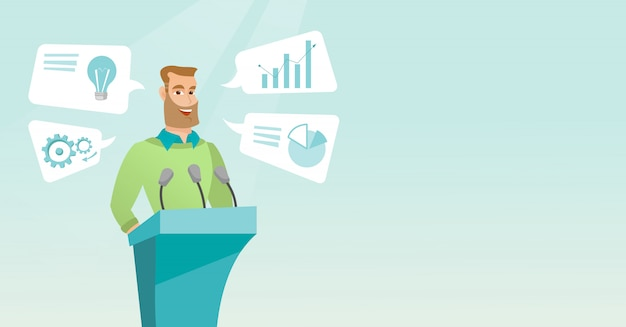 Biznesmen daje przemówienie na seminarium biznesowe.