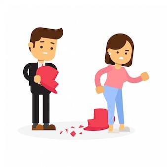 Biznesmen daje serce do kobiety biznesu, ale ucieka.