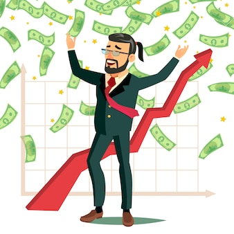 Biznesmen deszcz dolar