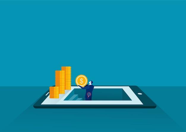 Biznesmen dostał monetę przez odkrycie na tablecie, znalezienie koncepcji pieniędzy w sytuacji biznesowej, płaska konstrukcja