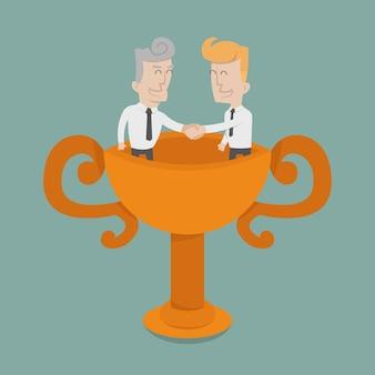 Biznesmen drżenie rąk, praca zespołowa do sukcesu
