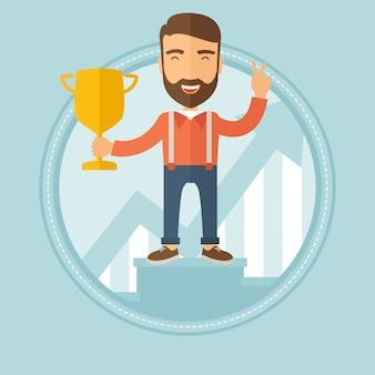Biznesmen dumny ze swojej nagrody biznesowej.