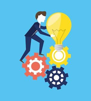 Biznesmen działa dla osiągnięcia sukcesu