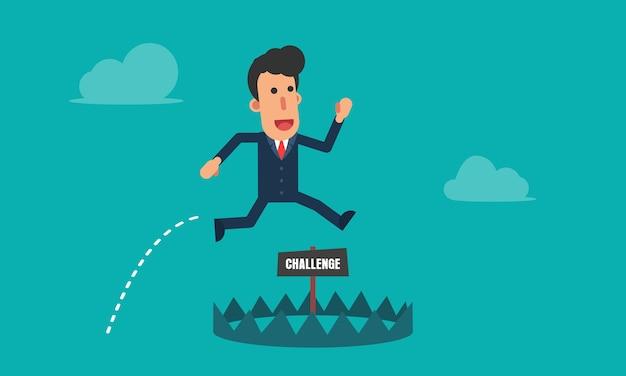 Biznesmen działa i skacze, aby uniknąć pułapek wyzwanie
