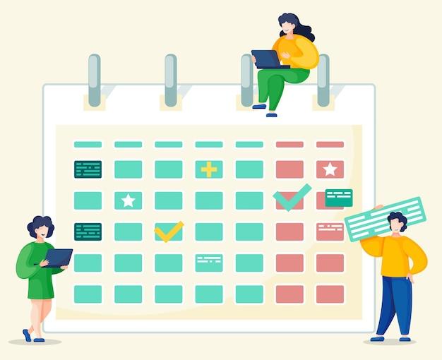 Biznesmen działa na laptopie, zarządzaniu czasem i koncepcji organizacji procesu.