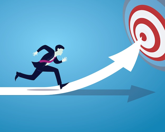 Biznesmen działa. szybki biznes osiąga celu pojęcie