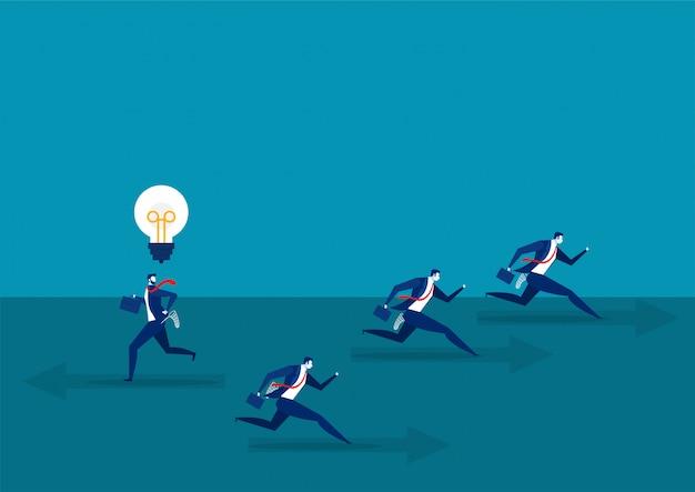 Biznesmen działa z pomyśl inną koncepcją biznesową do sukcesu ilustracji wektorowych.