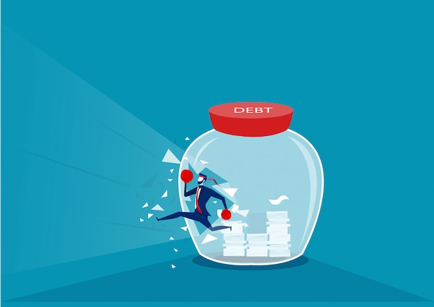 Biznesmen dzielenie szklanej butelki na sukces bez długów.