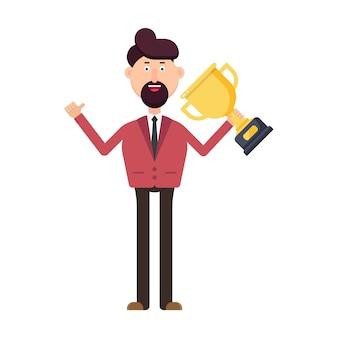 Biznesmen gospodarstwa ilustracja trofeum zwycięzcy