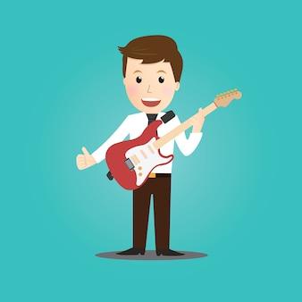 Biznesmen grać na gitarze