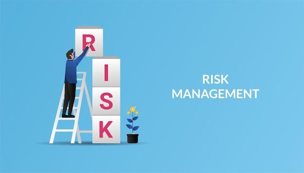 Biznesmen gry symbol gry wieży. koncepcja zarządzania ryzykiem, ilustracja.