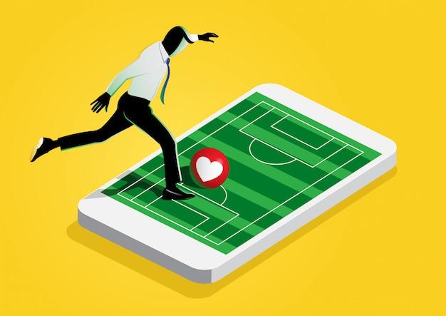 Biznesmen gry w piłkę nożną