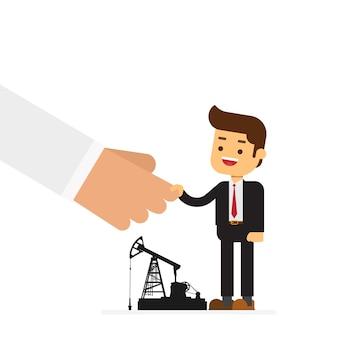 Biznesmen i arabski biznesmen uścisk dłoni rozdaje odwiert naftowy biznes