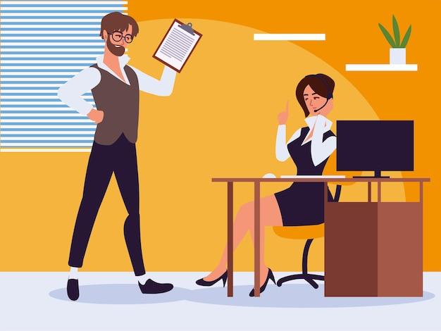 Biznesmen i asystent sekretarki