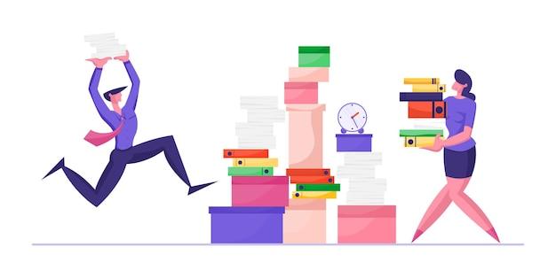 Biznesmen i bizneswoman niosą ogromny stek dokumentów pracowników biurowych