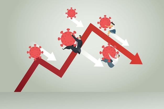 Biznesmen i bizneswoman spadają z wykresu z koronawirusa covid19