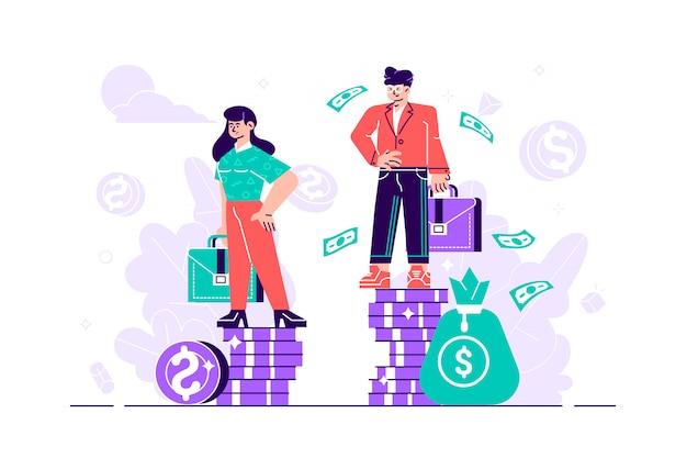 Biznesmen i bizneswoman stoi na stosach monet reprezentujących poziom płac - wektor. różnice płci i nierówności w wynagrodzeniach. seksizm i dyskryminacja. ilustracja projektu urządzony