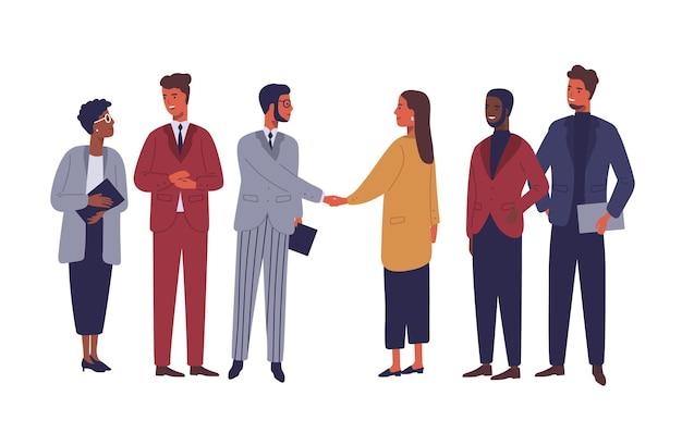 Biznesmen i bizneswoman uścisk dłoni płaskie wektor znaków. partnerstwo międzynarodowe na białym tle clipart. udane negocjacje, ilustracja kreskówka umowy. spotkanie partnerów biznesowych.
